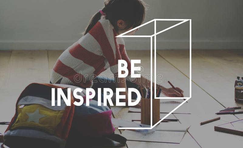 Art Inspiration Motivation Word met Jong geitjeachtergrond stock fotografie
