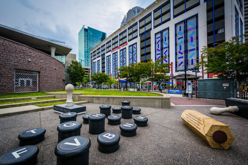 Art installation and modern buildings in Uptown Charlotte, North. Carolina royalty free stock image