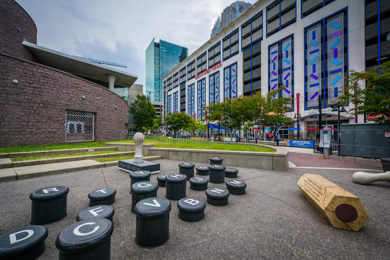Art installation and modern buildings in Uptown Charlotte, North. Carolina stock photos