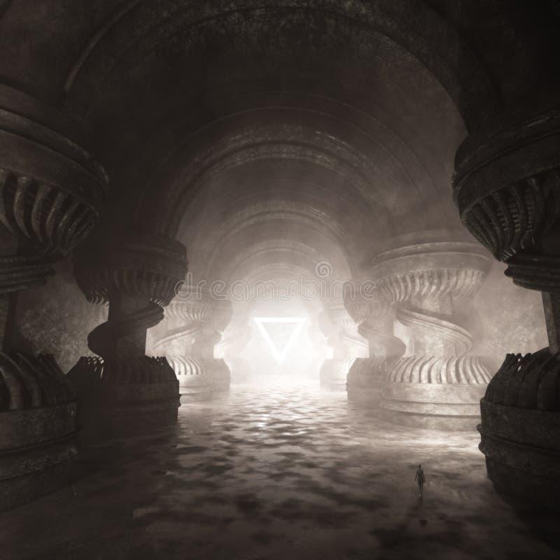 Art intérieur de concept de temple ésotérique illustration libre de droits