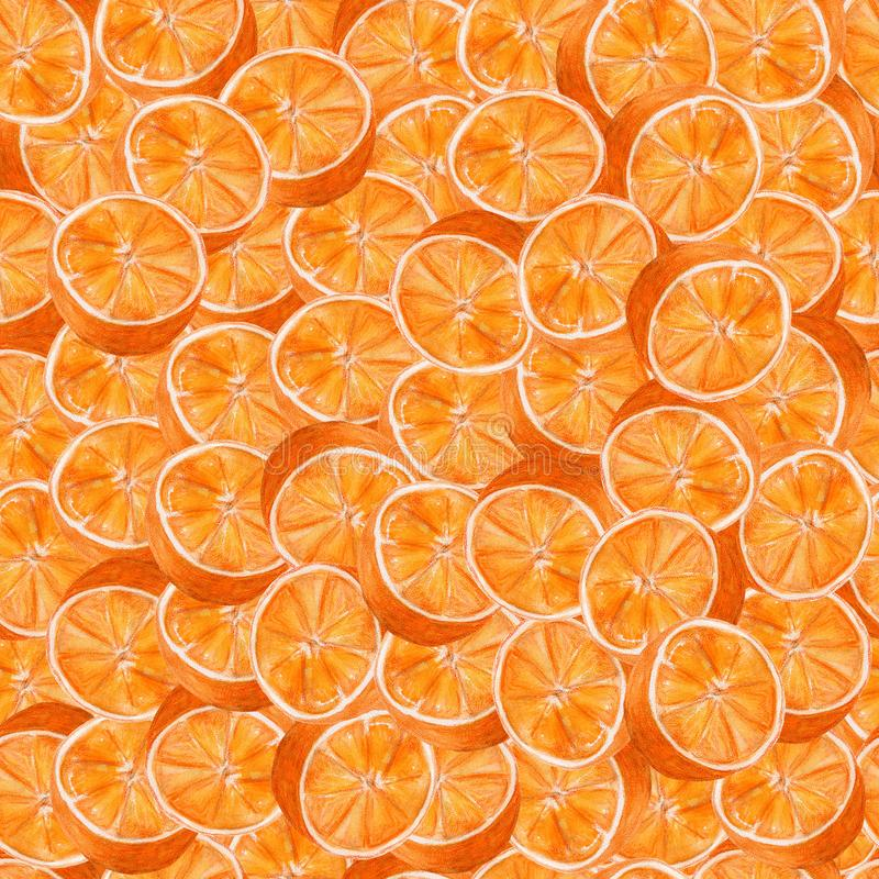 Art juteux d'aquarelle d'oranges Modèle sans couture tiré par la main avec des agrumes sur le fond blanc illustration stock
