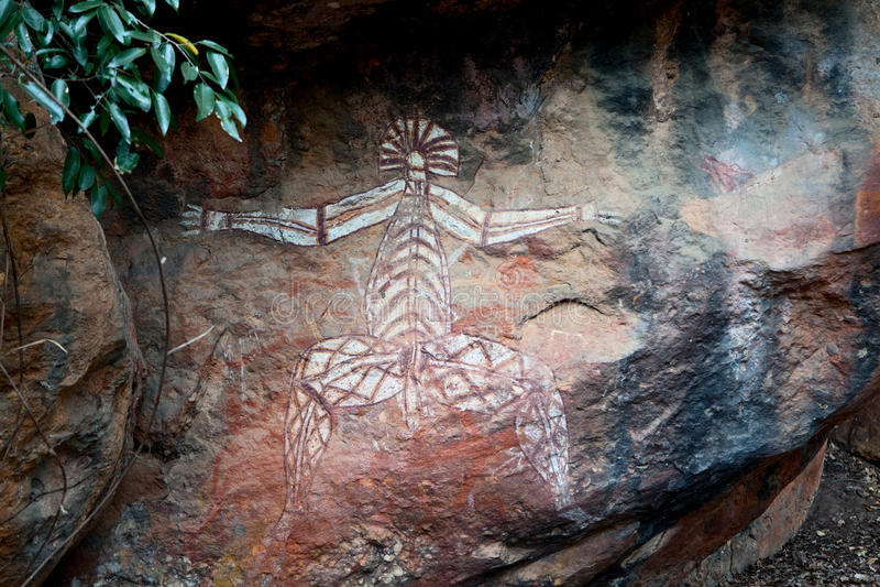 Art Kakadu de peinture de roche d'aborigènes photo libre de droits