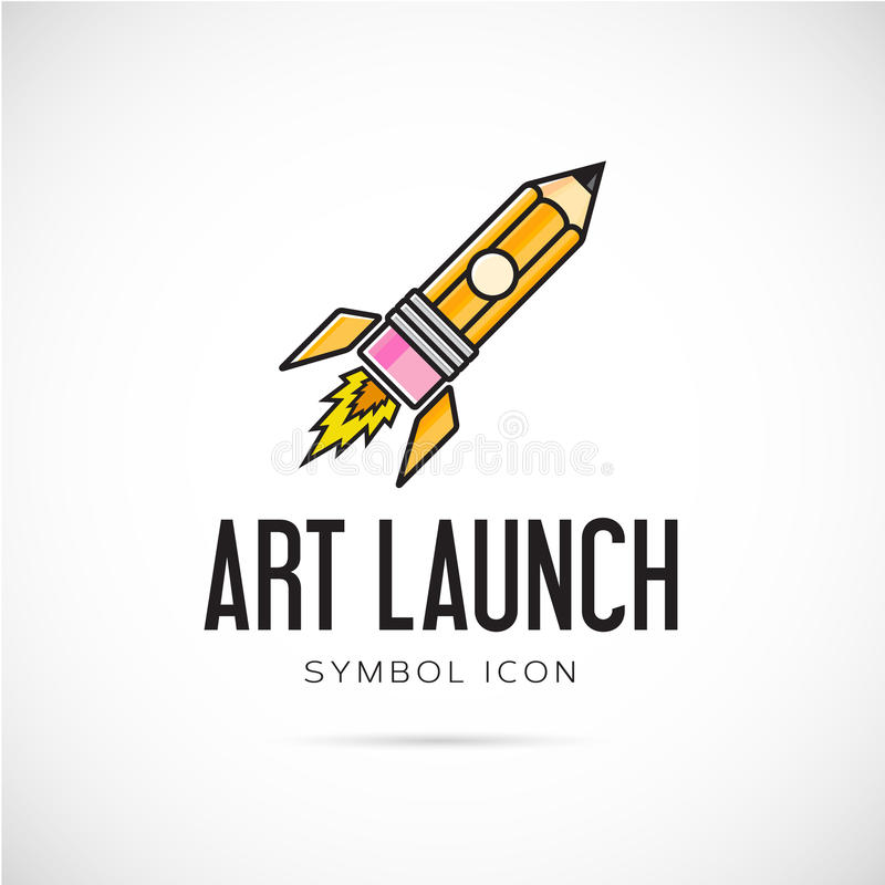 Art Launch Pencil Rocket Vector-Konzept-Symbol stock abbildung