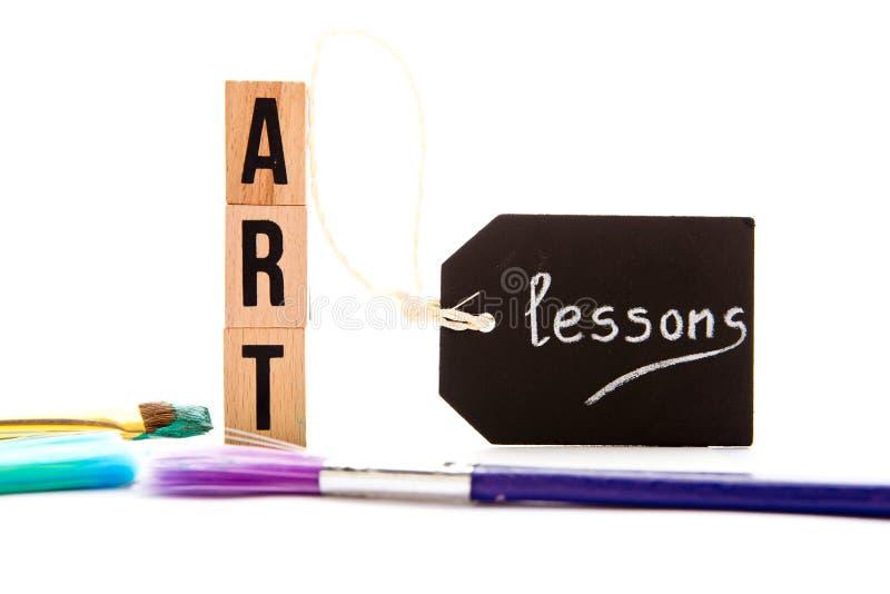 Art Lessons - blokken en borstels royalty-vrije stock foto's