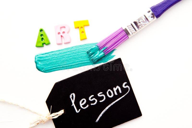 Art Lessons - Verf en borstel royalty-vrije stock foto's