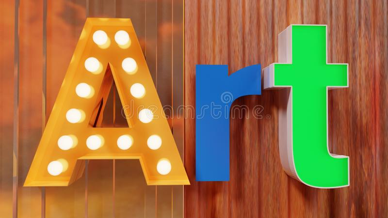 Art Letters on Metal Wall stock photo