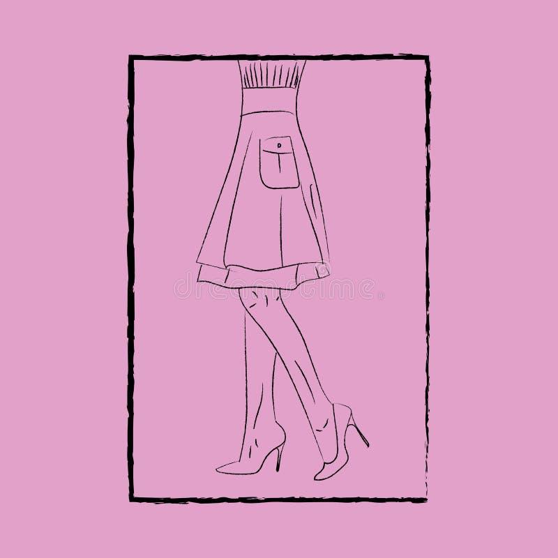 Art linéaire des jambes et talons de mode d'une belle femme sur un vecteur d'arrière-plan rose ou une illustration de couleur illustration de vecteur