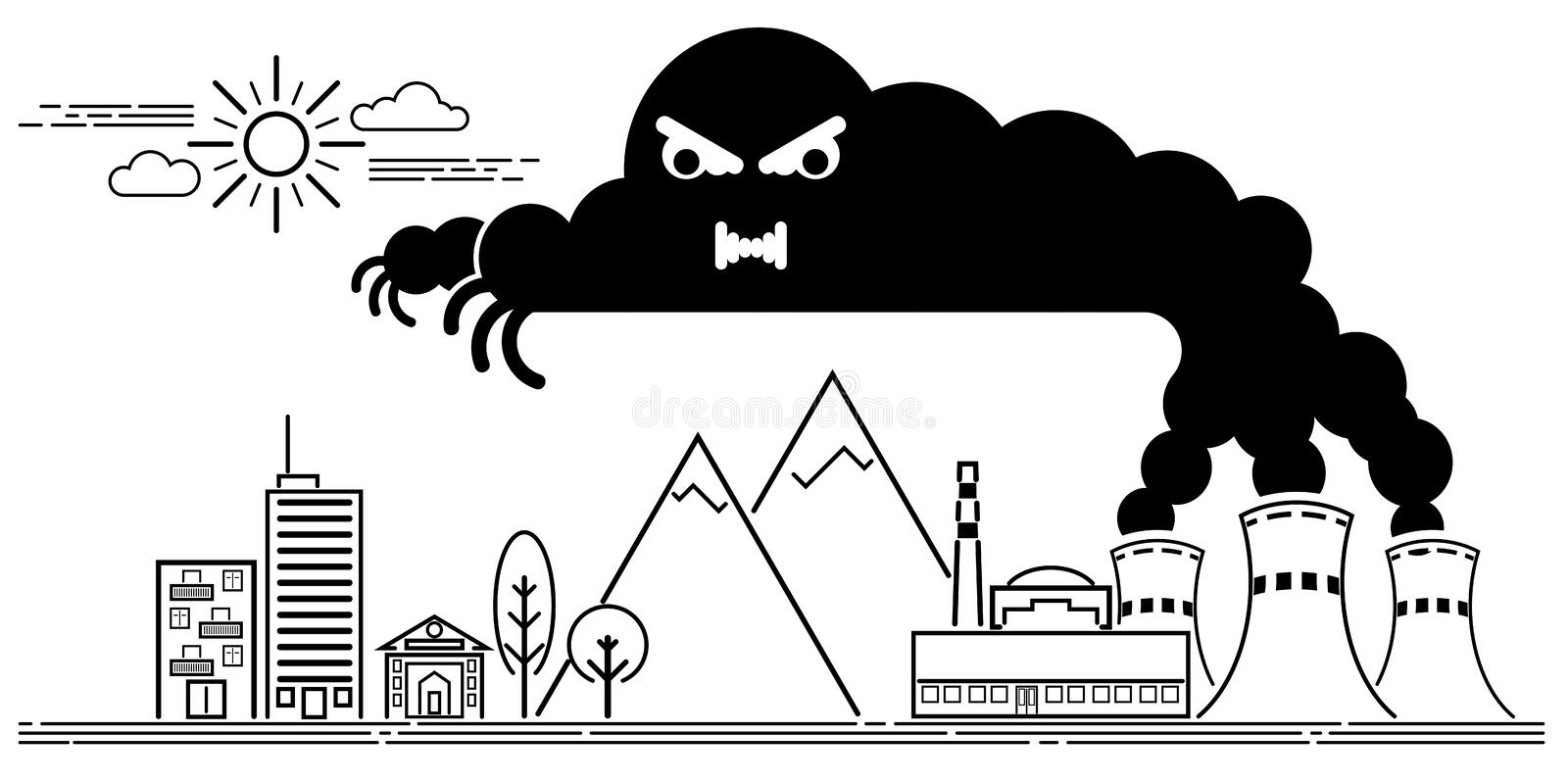 Art line Vector illustration of the dangers of nuclear power pla royalty free illustration