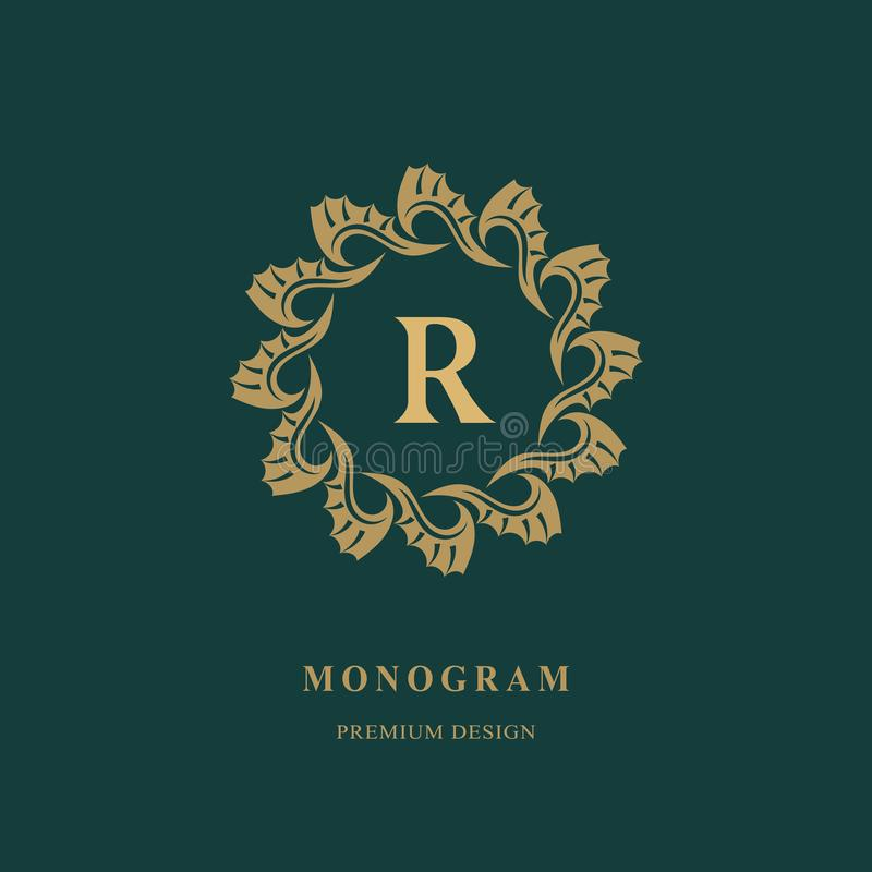 Art Logo Design Mayúscula R Emblema redondo elegante Monograma creativo hermoso Muestra agraciada para los derechos, tarjeta de v libre illustration