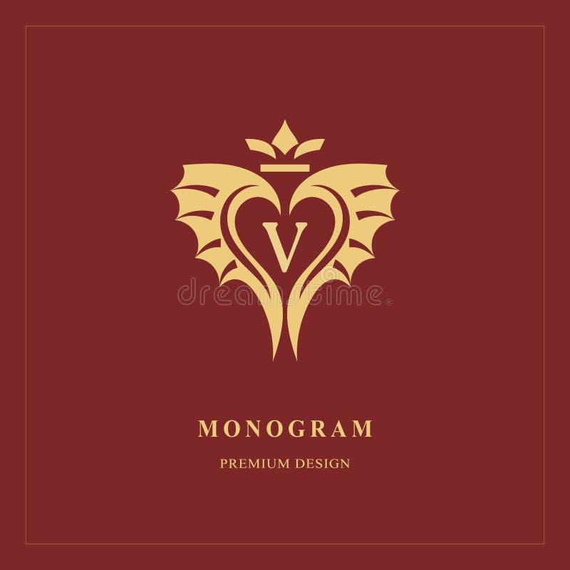 Art Logo Design Mayúscula V Emblema elegante del corazón Monograma creativo hermoso Muestra agraciada para los derechos, tarjeta  stock de ilustración