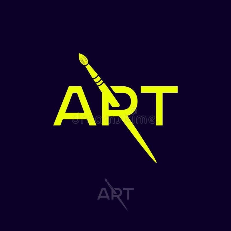 Art Logo R-Monogramm mit Art Brush Künstlerisches Schul-oder Galerie-Emblem typographie vektor abbildung