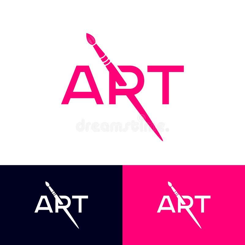 Art Logo R-Monogramm mit Art Brush Künstlerisches Schul-oder Galerie-Emblem typographie lizenzfreie abbildung