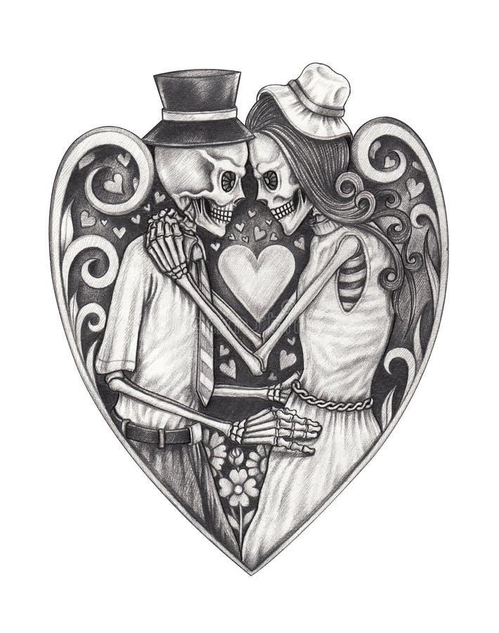 Download art in love skulls stock illustration illustration of ghost 97383683