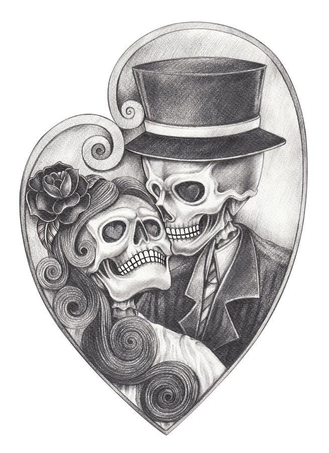 Art In love wedding skull day of the dead. royalty free illustration