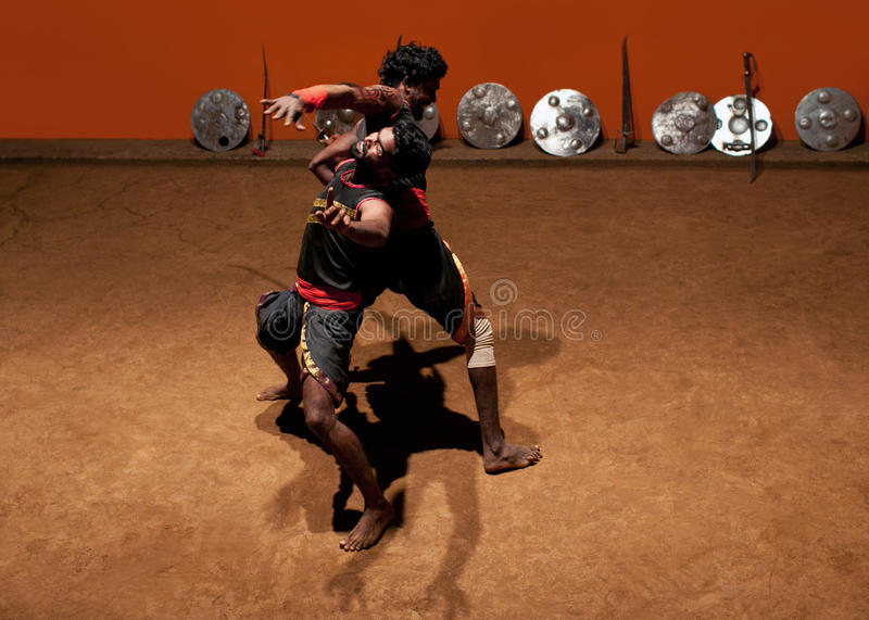 Art martial de Kalaripayattu au Kerala, Inde du sud photo stock