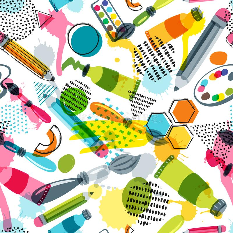 Art materials for craft design, creativity. Vector doodle seamless pattern. Background with items for handmade activity. Art materials for craft design and stock illustration