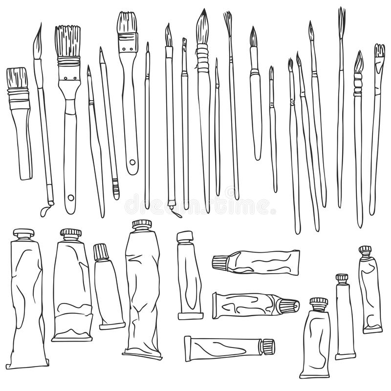 Line Art Brush By Jimro : Set of paint brushes and tubes stock vector