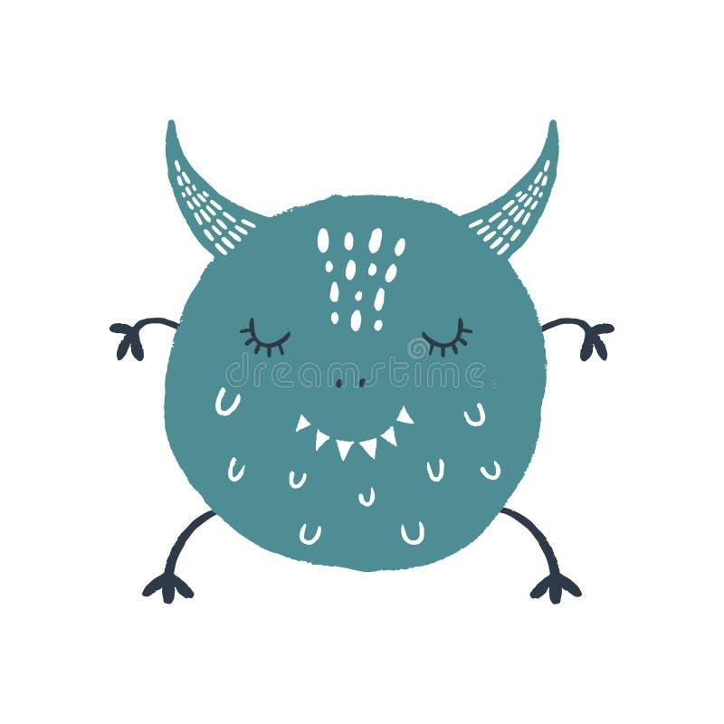 Art mignon de monstre de bébé de vecteur Illustration de crèche illustration libre de droits