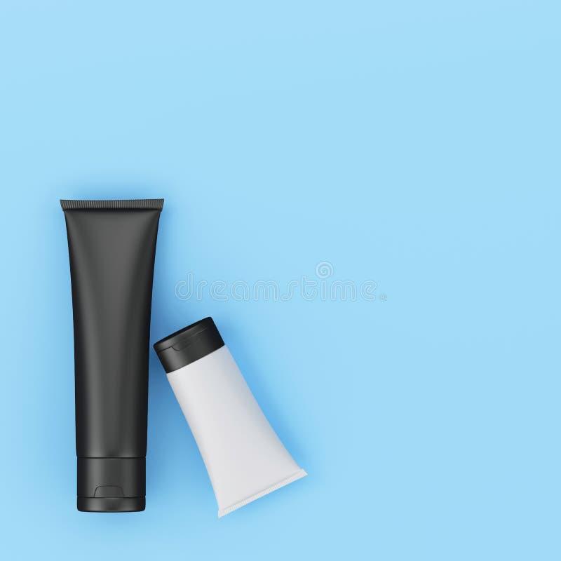 Art minimal de concept de paquet cosmétique crème en pastel illustration de vecteur