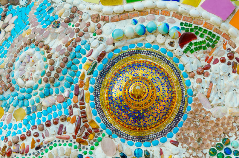 Art mosaic glass. On the wall,Thailand stock photography