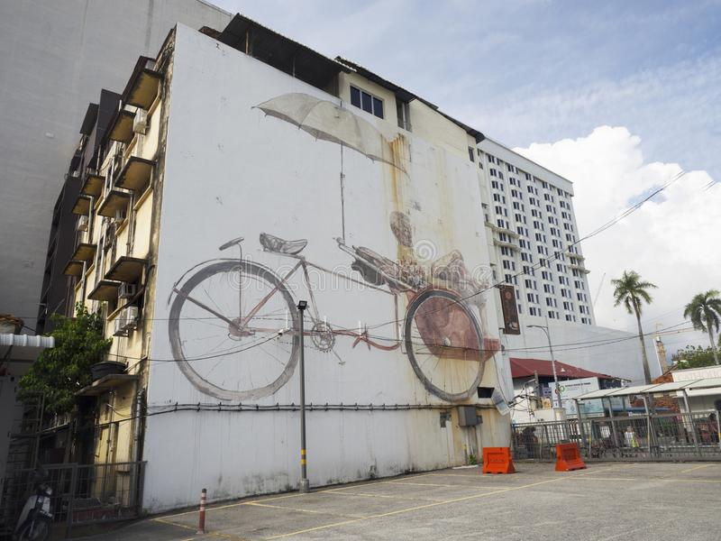 Art mural de rue de mur, Penang photos stock