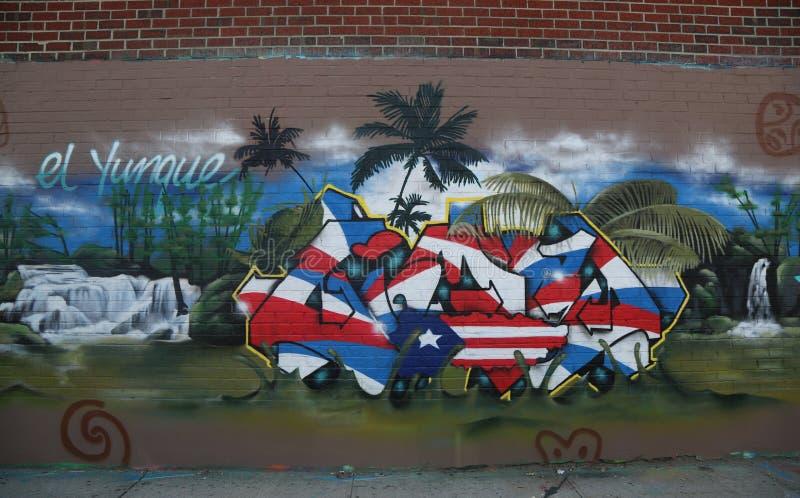 Art mural orienté du Porto Rico à Williamsburg est photographie stock libre de droits