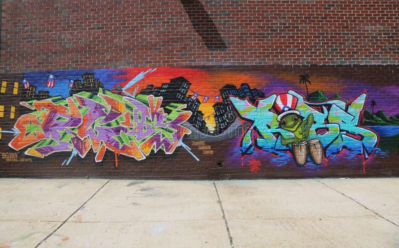 Art mural orienté du Porto Rico à Williamsburg est photos stock