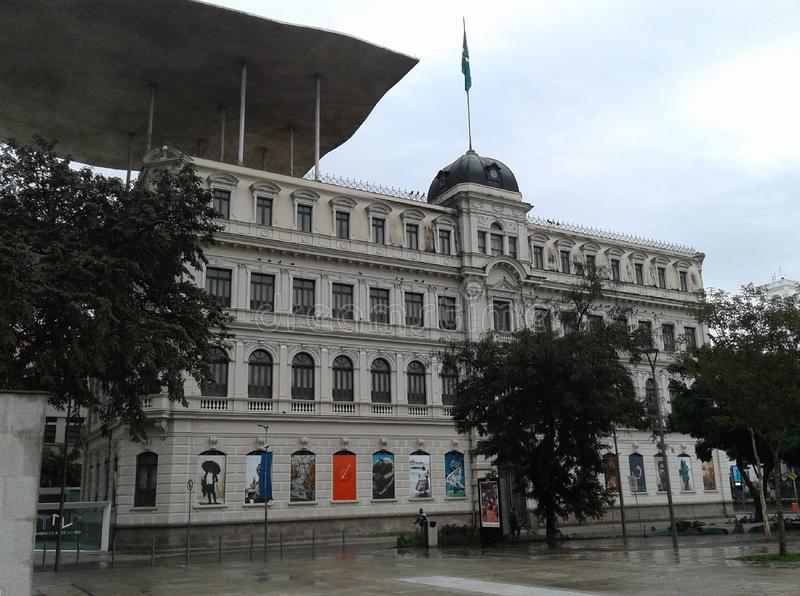 Art Museum in Maua square Rio de Janeiro Downtown Brazil. Art Museum in Maua square Rio de Janeiro Downtown. Wet floor, square, rainy day, building, trees stock images