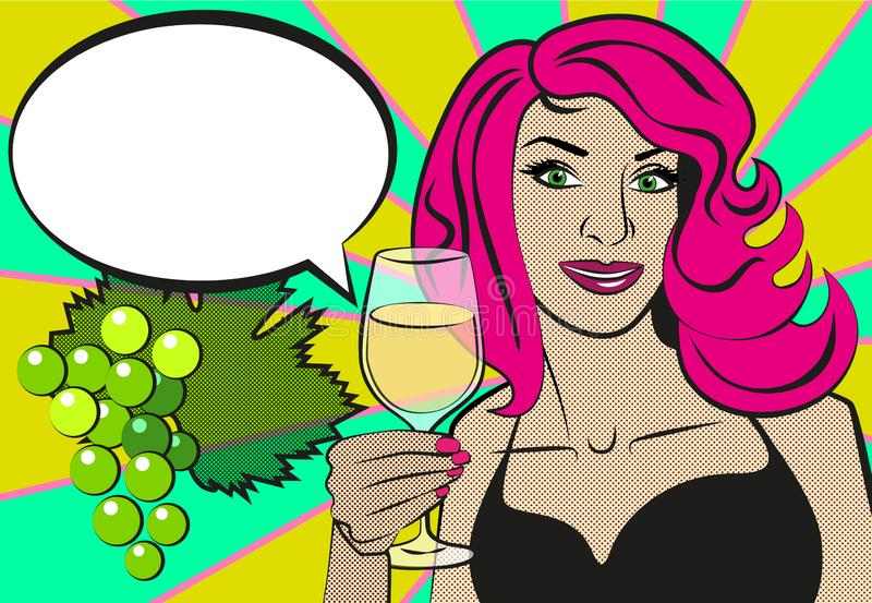 Pop art woman with glass of red wine. Beautiful woman Close up drinking wine. stock illustration
