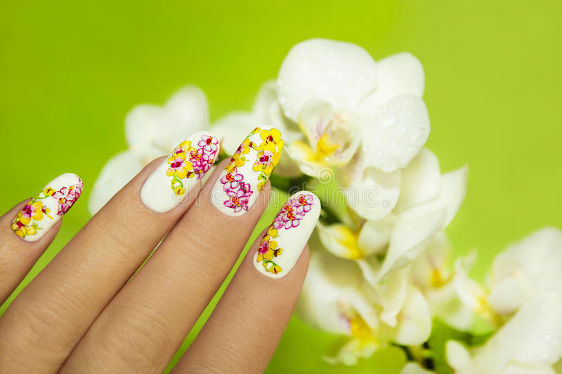 Art nail design. Art nail design with picture of orchids on a woman's hand on a green background royalty free stock photos