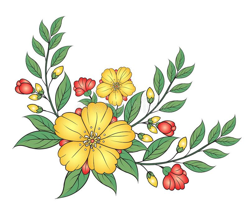 Art of nature, A bouquet of colorful flowers on a white background. hand drawn style vector design illustrations. stock photography