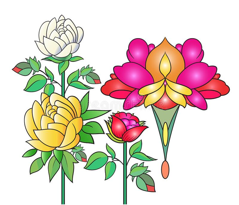 Art of nature, A bouquet of colorful flowers on a white background. hand drawn style vector design illustrations. stock photos