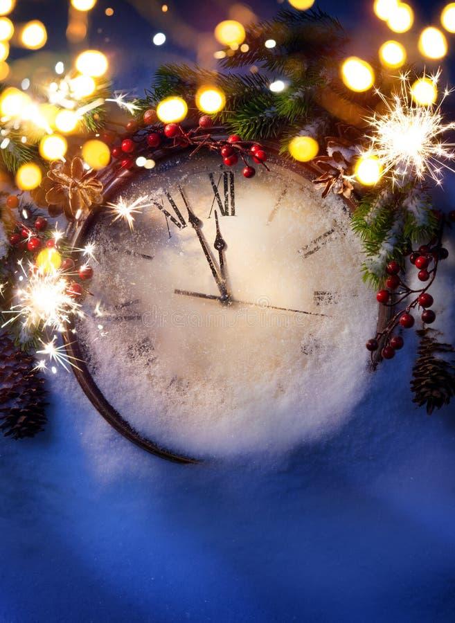 Art New Years-Mitternacht lizenzfreies stockbild