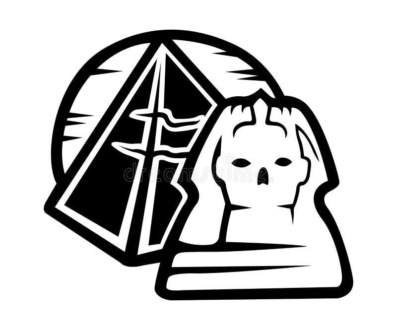 Art noir et blanc avec des symboles égyptiens illustration stock