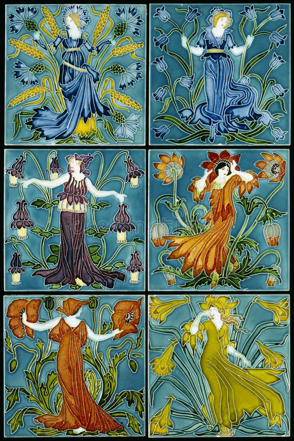 Art Nouvea Flower Fairies Glamorous Women Set. Art Nouvea Art Deco Flower Fairies Glamorous Women Set of Antique Tile Images stock photography