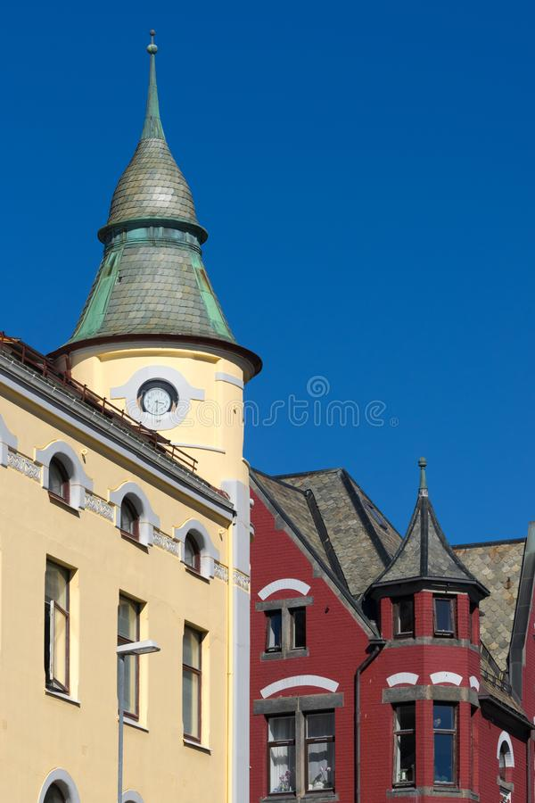 Art Nouveau Architecture in Alesund, Norway royalty free stock photo