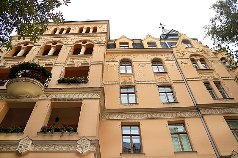 Art Nouveau architecture on a building facade in Riga, Latvia. Baltic countries, Europe stock image