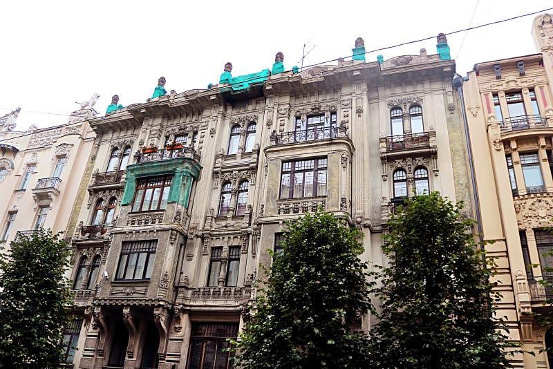 Art Nouveau architecture on a building facade in Riga, Latvia. Baltic countries, Europe stock photos