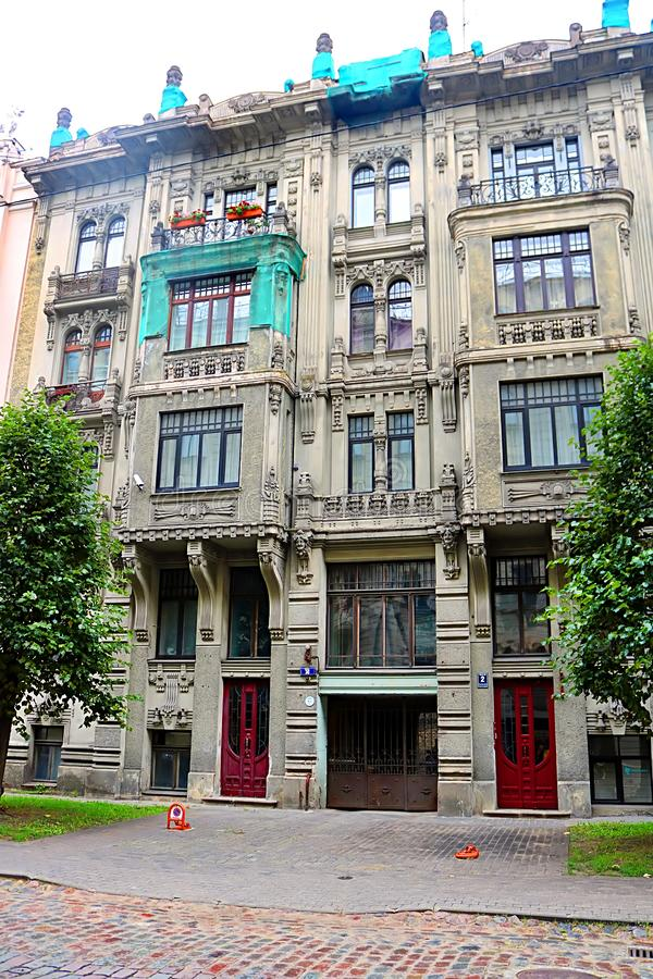 Art Nouveau architecture on a building facade in Riga, Latvia. Baltic countries, Europe royalty free stock image