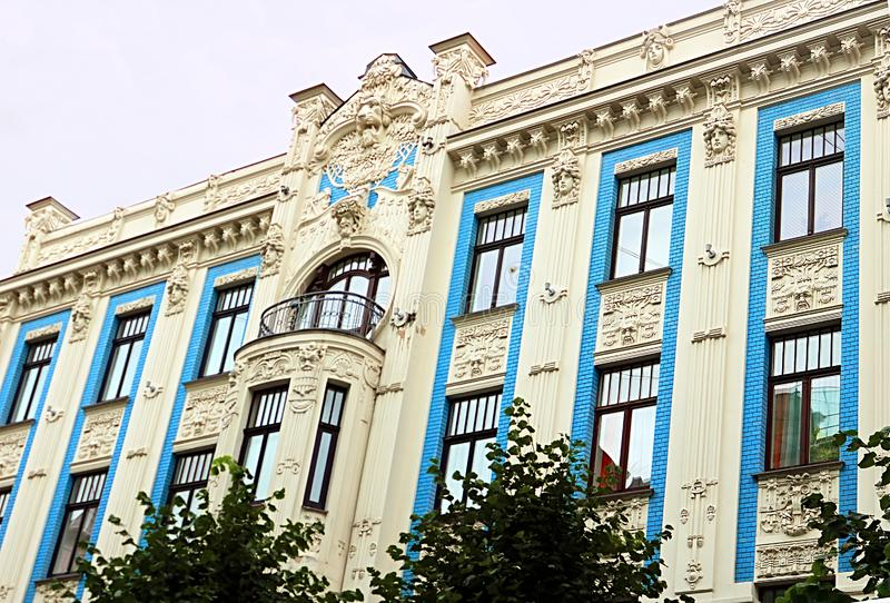 Art Nouveau architecture on a building facade in Riga, Latvia. Baltic countries, Europe royalty free stock photo
