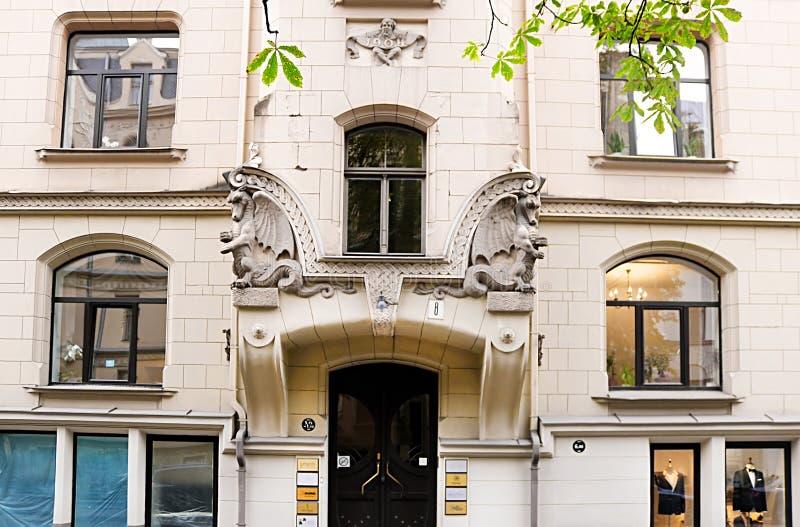 Art Nouveau architecture on a building facade, Riga, Latvia. Europe royalty free stock image