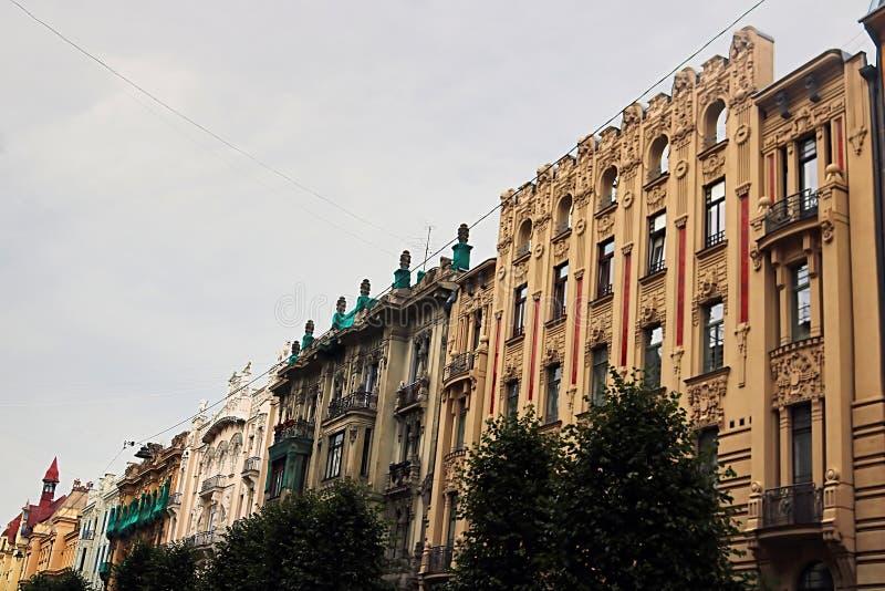 Art Nouveau architecture on a building facades in Riga, Latvia. Baltic countries, Europe stock photo