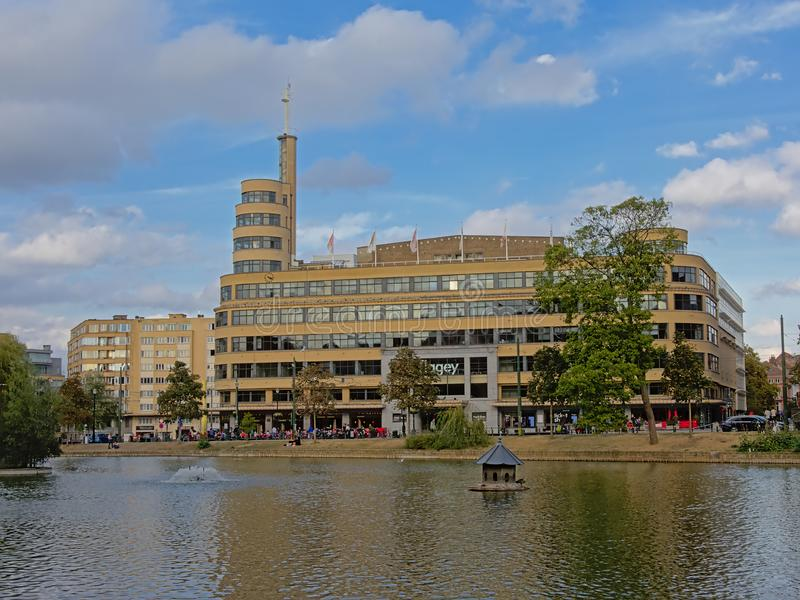 Flagey building and tower along Ixelles lakes, Brussels, Belgium stock image