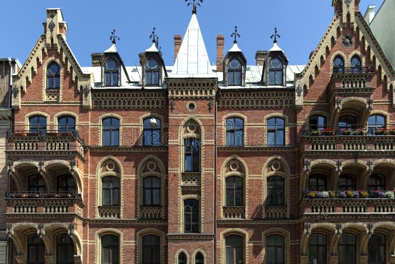 Art Nouveau arkitektur i Riga royaltyfri fotografi