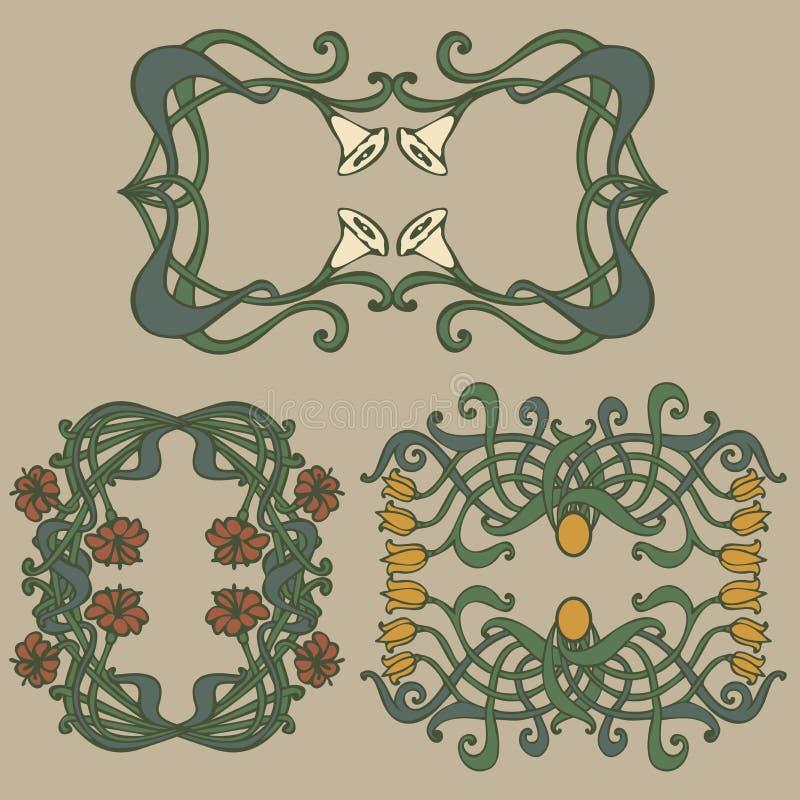 nouveau deco modern vintage elements stock illustration