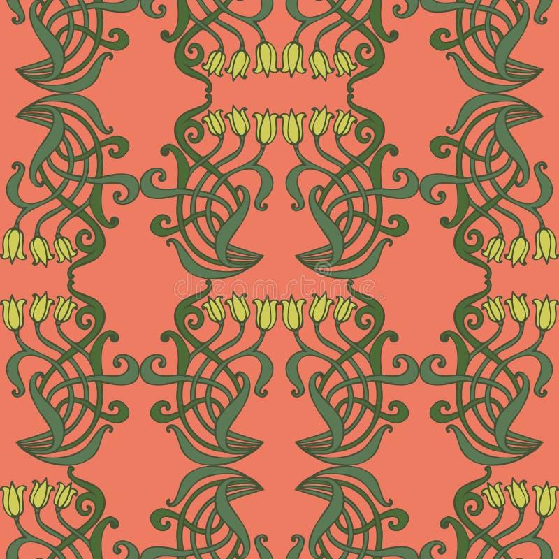 Deco Jugendstil nouveau deco modern vintage elements seamless pattern