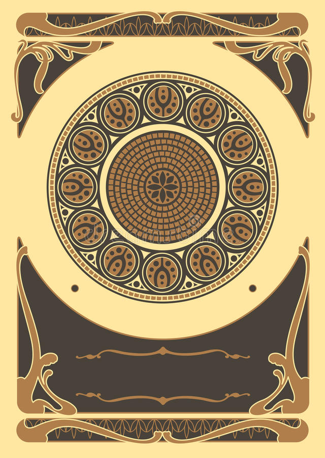Art Nouveau Background and Frame royalty free illustration