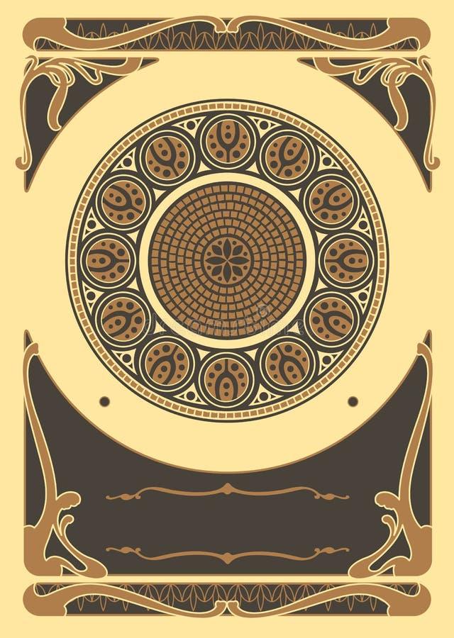 Art Nouveau Background och ram royaltyfri illustrationer