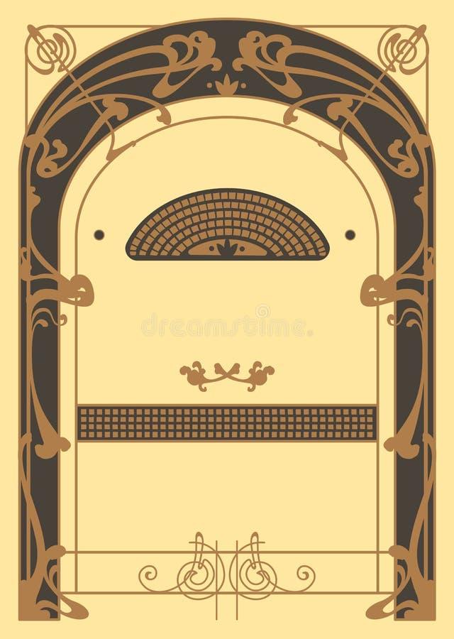 Art Nouveau Background och ram vektor illustrationer