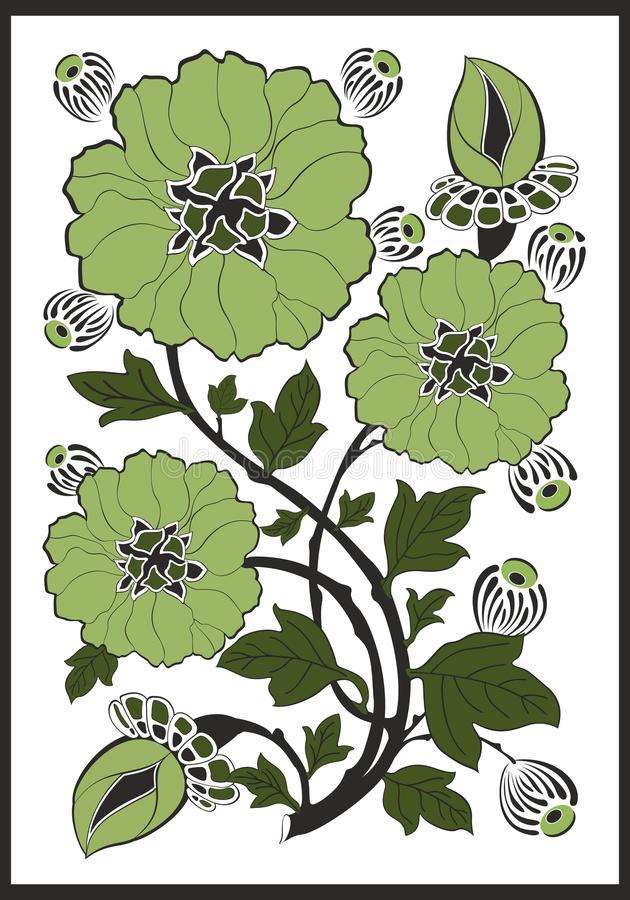 Art Nouveau - blommamodell royaltyfri illustrationer